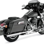 1995-up Vance & Hines Chrome Oval Twin Slash Slip-On Mufflers – 16767