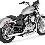 2004-up Vance & Hines Chrome Round Twin Slash Slip-On Mufflers – 16839