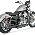 2005-upVance & Hines Black Round Twin Slash Slip-On Mufflers – 46839