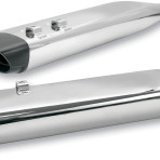 1995-up SPO Oval Slip-On Mufflers by S&S Cycle (chrome w/black end cap)1801-0475